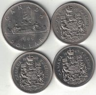 Canada Collection Of 4x 50 Cent & Dollar Coins 1968-1970 All Listed & Different - Canada