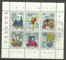 """DDR 2566-71 Klbg.""""Historisches Spielzeug: Verkehrsmittel"""" Sonderstempel Mi.-Preis 3,80; - Blocs"""