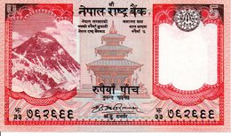 NEPAL - Billet 5 Rupees Five  - Pagode Buffle Animal  TBE - Népal