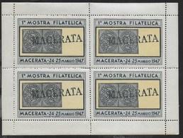 1947 - FOGLIETTO CON 4 CHIUDILETTERA - 1a MOSTRA FILATELICA MACERATA 24/25 MAGGIO 1947 - NUOVO MNH** - Erinnofilia