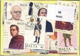 Lot 50 Timbres Malte - Lots & Kiloware (mixtures) - Max. 999 Stamps