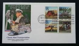 USA United States Classic Mail Transportation 1989 Airplane Car Ship (stamp FDC) - Stati Uniti