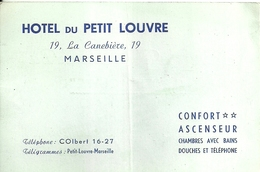 """4087 """"HOTEL DU PETIT LOUVRE-MARSEILLE-CONFORT 2 STELLE-ASCENSEUR-CHAMBRESS AVEC BAINS,DOUCHES ET TELEPHONE """"  ORIGINALE - Cartoncini Da Visita"""