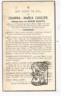 DP Joanna M. Caulier 24j. ° Vlamertinge Ieper 1922 † 1946 X Roger Wostyn - Images Religieuses