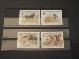 TCHAD - 1988 WWF FAUNA 4 VALORI - NUOVI(++) - Ciad (1960-...)