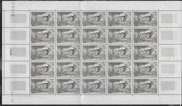 1957 - AFRICA EQUATORIALE FRANCESE - SERIE FAUNA FR. 1- ELAND DE DERBY - FOGLIO DI 25 VAL.  (YVERT 238 - MICHEL 305) - A.E.F. (1936-1958)