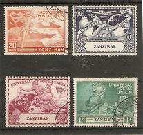 ZANZIBAR 1949 UPU SET FINE USED Cat £13.50 - Zanzibar (...-1963)