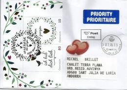 Ich Habe Dich Lieb.Je T'aime.Greetings From Austria,lettre 2019 Adressée Andorra,avec Timbre à Date Arrivée - 2011-... Cartas