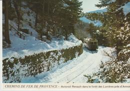 C. P. - CHEMINS DE FER DE PROVENCE - AUTORAIL RENAULT DANS LA FORET DE LUNIERES PRES D'ANNOT - JACQUES CHAUSSARD - A 81 - Eisenbahnen