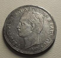 1876 - Grèce - Greece - 5 DRACHMAI, GEORGE 1, (A), Argent, Silver, KM 46 - Grèce