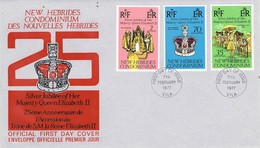 33039. Carta F-D.C.  VILA, Condominium NEW HEBRIDAS 1977. Silver Jubilee Elisabeth II - Leyenda Inglesa