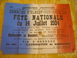 Elbeuf-Sur Andelle , Rare Affiche De La Fete Nationale Du 14 Juillet 1934 - Affiches