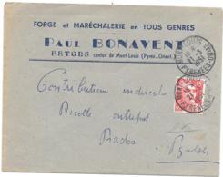 LETTRE DE FETGES... PYR ORIENT..1951.. PUB FORGE ET MARECHALERIE..POUR PRADES.. TBE SCAN - Poststempel (Briefe)