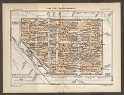 CARTE PLAN 1927 PARIS CIMETIERE DU MONTPARNASSE BUREAU DU CONSERVATEUR - CIMETIERE ISRAELITE HOMMES ET FEMMES CELEBRES - Mapas Topográficas