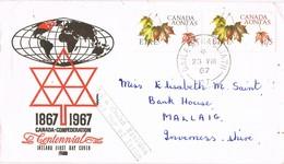 33043. Carta BAILE ATHA CLIAT (dublina) Eire 1967, Canada Confederation AONTAS, Naturaleza - 1949-... República Irlandése