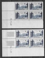 TOURISME / NANCY - 1948/1949 - YVERT N°822 - 2 BLOCS De 4 COIN DATE DIFFERENTS ** MNH - COTE = 208 EUR. - 1940-1949