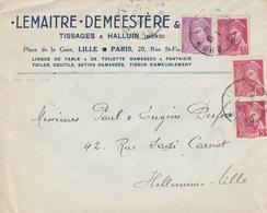 406+410+416 MERCURE - 04/1940 - TISSAGES LILLE / HALLUIN Nord - Curiosidades: 1931-40 Cartas