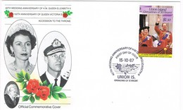33047. Carta F.D.C. Union Is Saint Vincent-Grenadines 1987. Anniversary Queens - St.-Vincent En De Grenadines