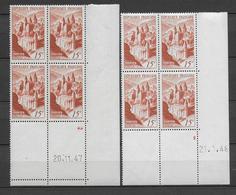TOURISME / CONQUES - 1947/1948 - YVERT N°792 - 2 BLOCS De 4 COIN DATE DIFFERENTS ** MNH - COTE = 60 EUR. - 1940-1949