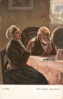 """""""De Witt. Old Couple. Dort Kompft Unser Shon!"""" Fine Painting, Antique German Postcard - Parejas"""