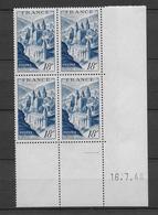 TOURISME / CONQUES - 1948 - YVERT N°805 - BLOC De 4 COIN DATE  ** MNH - COTE = 33 EUR. - 1940-1949