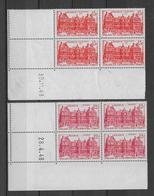 TOURISME / LUXEMBOURG - 1948 - YVERT N°803/804 - BLOCS De 4 COIN DATE  ** MNH - COTE = 26.5 EUR. - 1940-1949