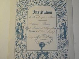 Limoges, Institution BONY Et VILLENEUVE, 1850 , 2eme Accessit D'orthographe - Diploma & School Reports