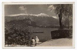 1935 YUGOSLAVIA, SLOVENIA, BLED, LAKE WITH ISLAND AND MOUNTAINS, ORIGINAL PHOTOGRAPH,  ILLUSTRATED POSTCARD USED - Yugoslavia