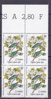N° 2930 Série Arts Décoratifs Pigeons à Queue Rayée: Beau Bloc De 4 Timbres Neuf Impeccable - Neufs