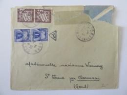 Enveloppe Taxée 3f (50c X 2 + 1f X 2) Montpellier Vers Saint ?? Par Clarensac - Le 21 Juin 1944 - Postmark Collection (Covers)