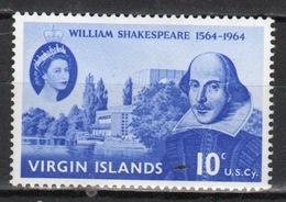 British Virgin Islands 1964 Queen Elizabeth Single 10 Cent Celebrating The 400th Birth Anniversary Of Shakespeare. - British Virgin Islands