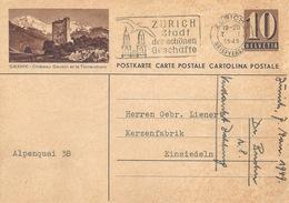 """PK 163  """"Sierre - Châteu Gobin Et Le Torrenthorn""""             1949 - Stamped Stationery"""