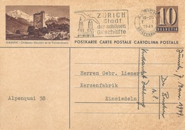 "PK 163  ""Sierre - Châteu Gobin Et Le Torrenthorn""             1949 - Interi Postali"