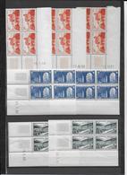 MONUMENTS ET SITES - 1949/1951 - YVERT N°841A/843 - 9 BLOCS De 4 COIN DATE DIFFERENTS ** MNH - COTE = 266 EUR. - 1940-1949