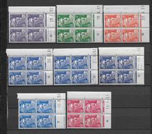 MARIANNE DE GANDON - 1951/1954 - YVERT N°883/887 - 8 BLOCS De 4 COIN DATE DIFFERENTS ** MNH - COTE = 187 EUR. - Hoekdatums