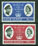 British Virgin Islands 1966 Queen Elizabeth Set Of Stamps Celebrating The Royal Visit. - Britse Maagdeneilanden