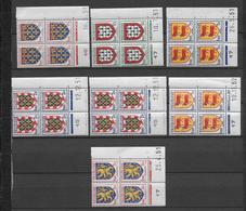 ARMOIRIES - 1951/1952 - YVERT N°899/903 - 7 BLOCS De COIN DATE DIFFERENTS ** MNH - COTE = 26 EUR. - 1950-1959