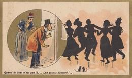 (CHROMO ET IMAGE Publicitaire) CHOCOLAT  GUERIN BOUTON  Quand Le Chat  N Est Pas La Les Souris Dansent   (6.5x10).) - Guerin Boutron