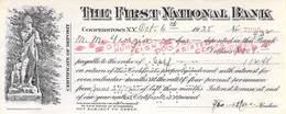 Cooperstown NY 1925 First National Bank Check $108,00  AU/EF (II) - Schecks  Und Reiseschecks