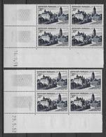 ARBOIS - 1951/1952 - YVERT N°905 - 2 BLOCS De 4 COIN DATE DIFFERENTS ** MNH - COTE = 17.5 EUR. - 1950-1959