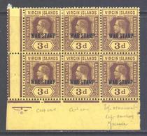 British Virgin Islands Scott MR2 - SG 79, 1916 War Stamp 3d Block Of 6 MH* - Iles Vièrges Britanniques