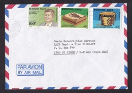 Burkina Faso: Airmail Cover To Netherlands, 1989, 3 Stamps, JFK, Kennedy, Crafts, Rare Real Use! (traces Of Use) - Burkina Faso (1984-...)