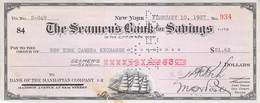 City Of NY 1937 Seamenn's Bank Check $ 21,36  AU/EF (II) - Schecks  Und Reiseschecks