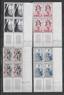 COUTURE + THEATRE - 1953 - YVERT N°941+943/944+956 - 4 BLOCS De 4 COIN DATE ** MNH - - 1950-1959