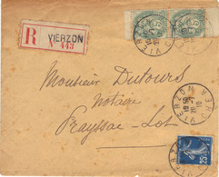 Blanc N°111, Paire Verticale De Carnet Sur Enveloppe Recommandée, Vierzon 1910. - 1900-29 Blanc