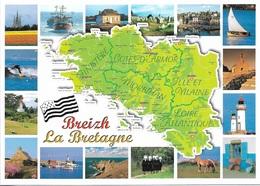 CARTES GÉOGRAPHIQUES - LA BRETAGNE - BREIZH - 16 PETITES VUES - CPM - VIERGE - - Bretagne