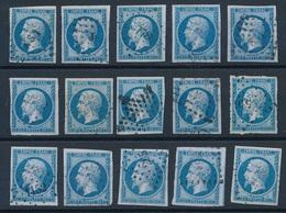 """CV-50: FRANCE: Lot """"CLASSIQUES""""  N°14B */obl (15) - 1853-1860 Napoléon III"""