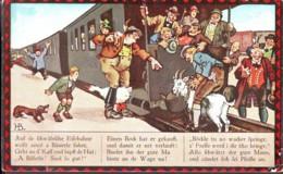 Alle Im Zug! Aber Die Ziege ...Tutti Sul Treno! Ma La Capra... Serie In 4 Bildern, Bild 3 Germania Anni '20 - Humor