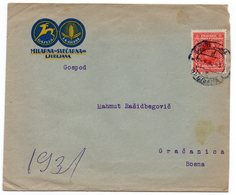 1931 YUGOSLAVIA, SLOVENIA, LJUBLJANA TO GRACANICA, BOSNIA, COMPANY'S HEAD COVER - Covers & Documents