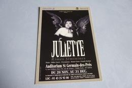 JULIETTE ..RIMES FEMININES ....AUDITORIUM ST-GERMAIN DES PRES .... - Spectacle